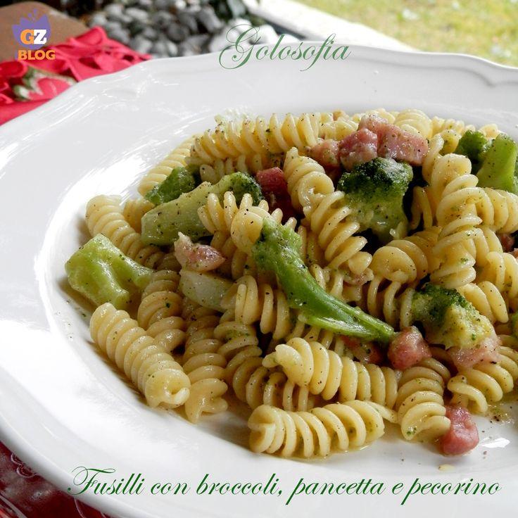 Fusilli+con+broccoli,+pancetta+e+pecorino,+ricetta+gustosa