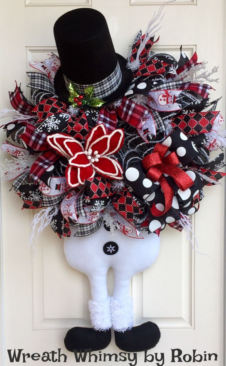 XL Deco Mesh Snowman Wreath in Red, Black & White, Winter Wreath, Holiday Wreath, Christmas Wreath, Snowman Decor, Whimsical Wreath by WreathWhimsybyRobin on Etsy