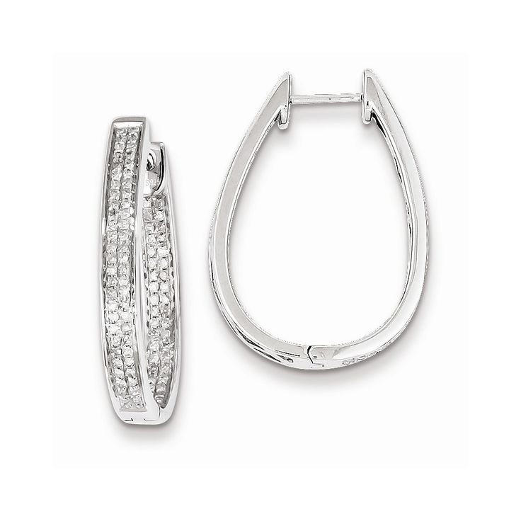 Sterling Silver Diamond Oval Hinged Hoop Earrings