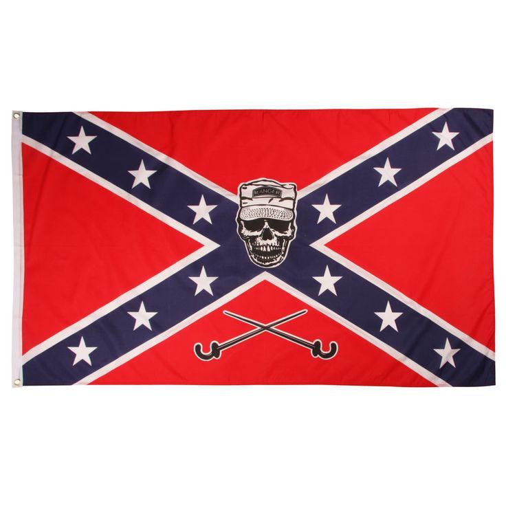 79,00 DKK Rebel flag.  Gennemfarvet Amerikansk Sydstatsflag med soldater dødningehoved midt på, fremstillet i 100% polyester med metaløjne i top og bund.  Rebel flaget er 150 x 90 cm.