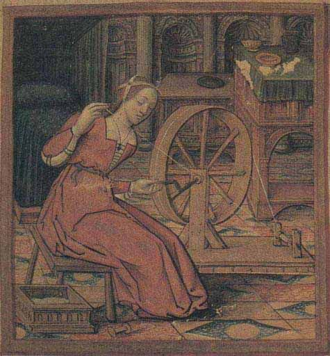 Woman spinning on a great wheel which is turned by a crank. MS 17, Musee Dobree, Nantes 16th c. Franc