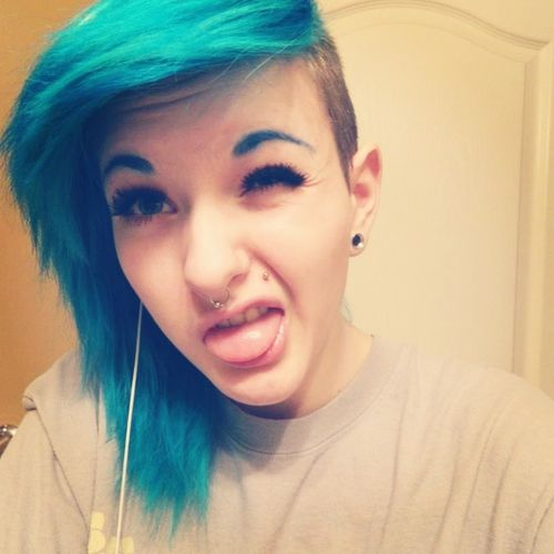 Emo hair. super edgy, i kinda wanna do this.. not the half shaved head part tho