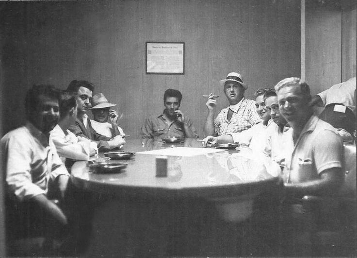 rare: Elvis, Colonel Parker and members of the Memphis Mafia