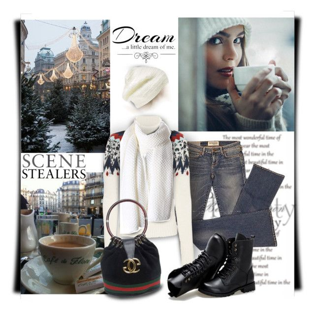"""""""European Cafes"""" by maison-de-forgeron ❤ liked on Polyvore featuring King & Fifth Supply Co., Elizabeth and James, Veronica Beard, Gucci, Sunsteps and Love Quotes Scarves"""
