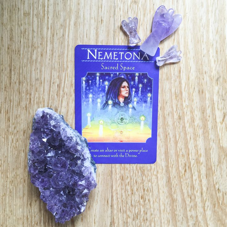 "Good morning and Happy New Year! Welcome to 2017! Today's card is SACRED SPACE from the Goddess Guidance Oracle Cards by Doreen Virtue. This card asks us to ""create an altar or visit a power place to connect with the Divine."" Read more on the blog #cardaday #cardreading #amethyst #goddessguidance"