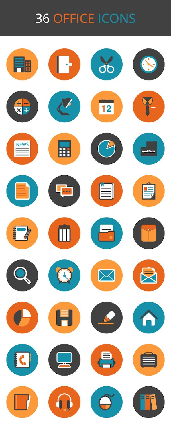 Exclusive Freebie : 36 Office Icon Set from Vecteezy.com