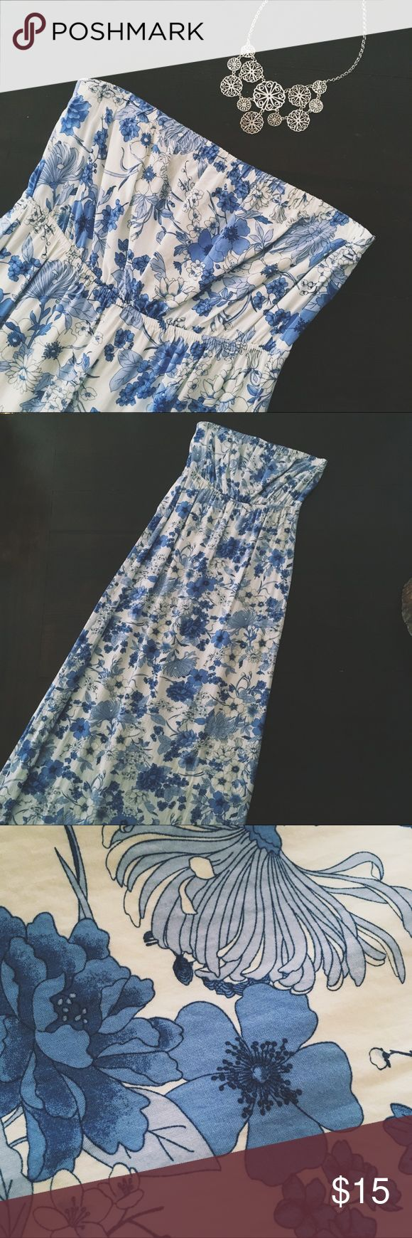 """""""Garden Queen"""" Maxi Dress Stunning and feminine strapless maxi dress feat. elastic waist and top band, slip layer and vibrant blue floral pattern. Reminds me of blue and white chinaware.   I'm 5'6"""" and it falls to around my ankles.  Only worn once for an occasion for a few hours. In excellent condition - still looks new! Old Navy Dresses Maxi"""
