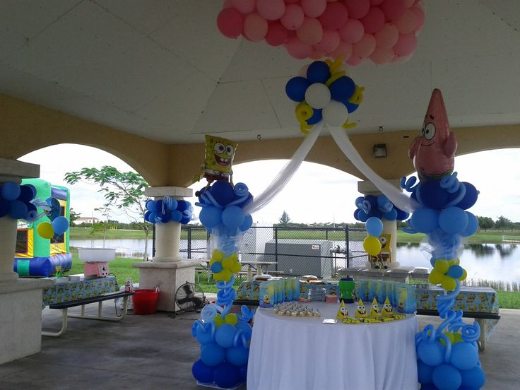 Sponge bob theme balloon decoration park kids party for Amusement park decoration ideas