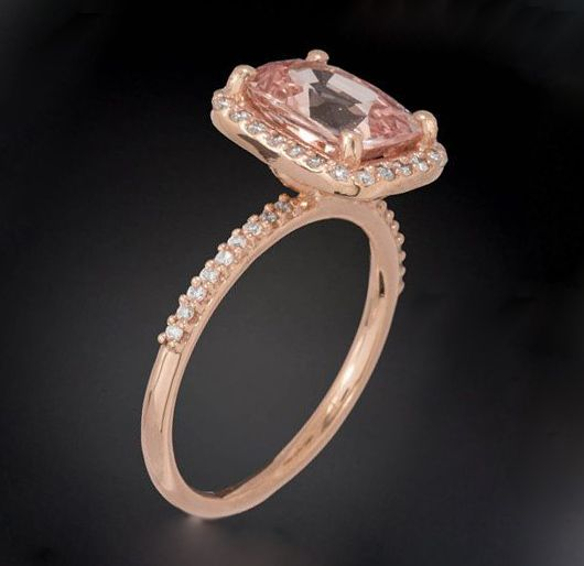 pink sapphire rectangle engagement ring
