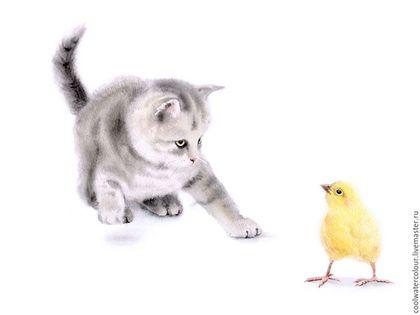 Животные ручной работы. Ярмарка Мастеров - ручная работа. Купить Котенок и цыпленок. Акварель.. Handmade. Лимонный, котенок, акварель в подарок