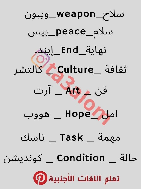 كلمات انجليزية مترجمة English Words Learn English English Language Learning