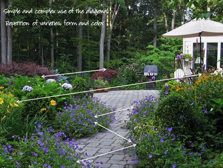 Repetition of color and form as well as good balance is for Garden design principles
