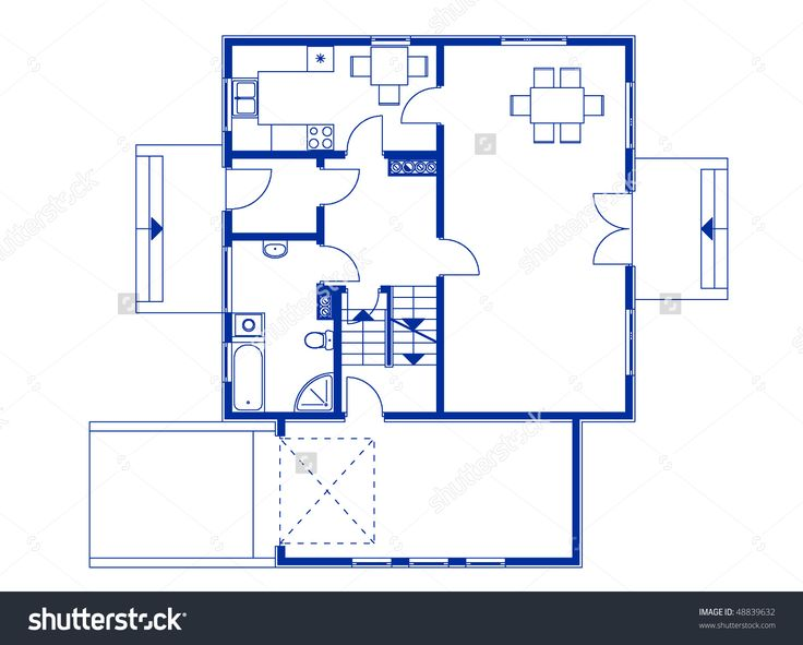 Architectural House Blueprint Blue Color Ground Stock Vector ...