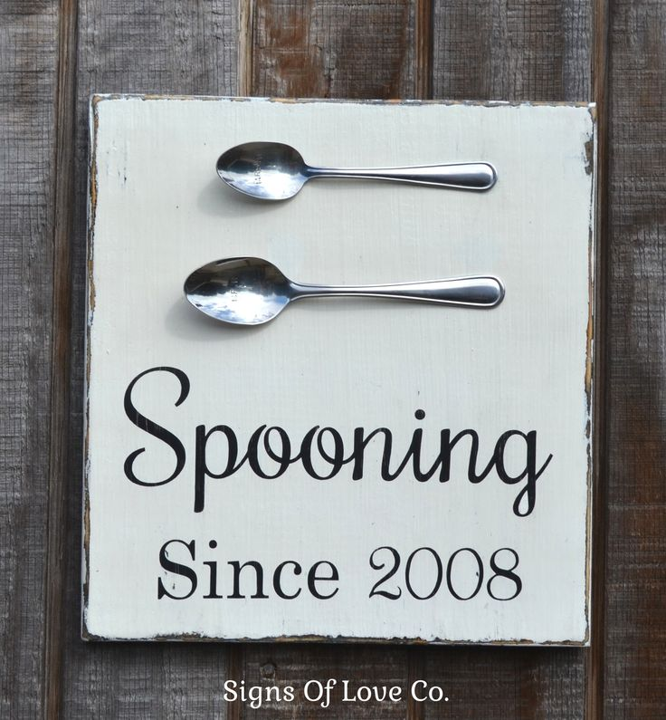 Spooning Since Sign Kitchen Decor Wedding Anniversary Shower Gift Couples House Home Unique Wall Art Hand Painted Reclaimed Wood Signs Personalized Date – Signs Of Love - Carova Beach