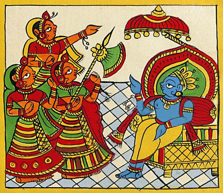Krishna+as+the+King+of+Dwarka+(Phad+Painting+on+Cloth+-+Unframed))+