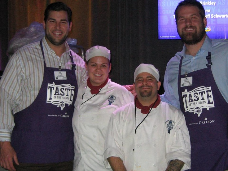 #LeCordonBleu students from #lcbmsp with Troy Kropog and Geoff Schwartz at the Taste of the Vikings, a NFL fundraising event on 11/19/2012.