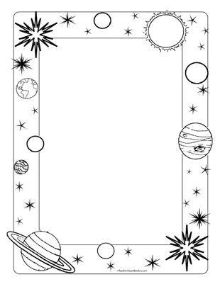 Space/Planets- Portrait Blank - Teacher Clipart Borders