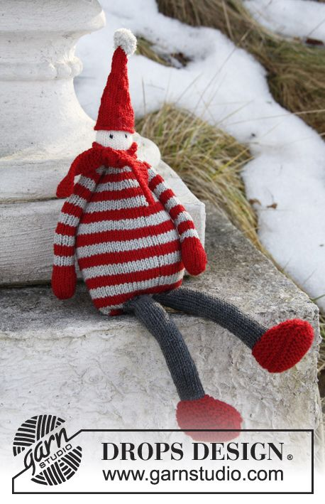 "Julius - Knitted DROPS Santa in ""Baby Merino"". - Free pattern by DROPS Design"
