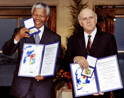 Nelson Mandela and FW de Klerk receive the Nobel peace prize in 1993