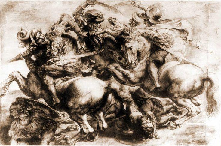 Anonimo del XVI secolo rielaborato da Peter Paul Rubens Copia della Battaglia di Anghiari, ca. 1600-1608 disegno, gessetto nero, penna, inchiostro a china. Parigi, Louvre, n. 20271