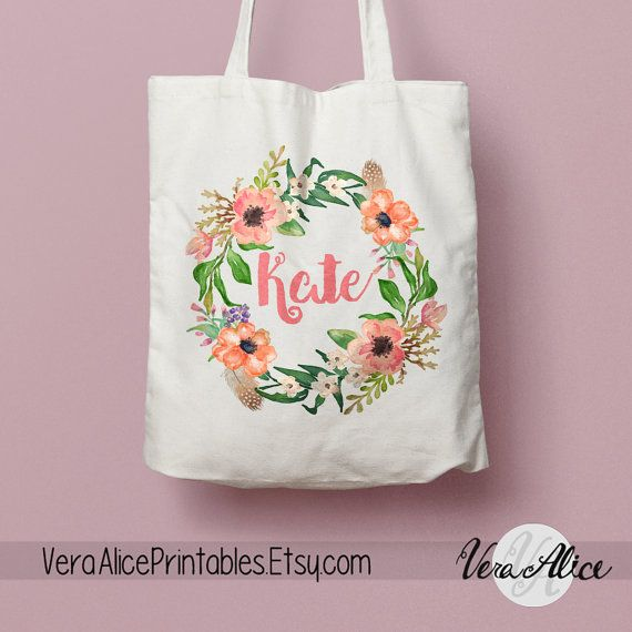 Personalized Natural Canvas Tote, Floral Tote, Custom Tote Bag, Name Tote, Bridesmaid Bag, Tote Bag Gift, Floral Bag, Flower Beige Tote