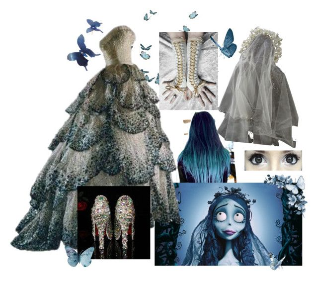 """Corpse bride"" by tokiohotel97 ❤ liked on Polyvore featuring Christian Dior, Eos, Sian Bostwick Jewellery, dress, Dark, jewelry, butterflies and corpsebride"