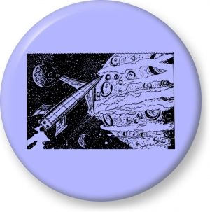 Comic scifi rocket and planet vector drawing - Button Badge - Brooch - Gift