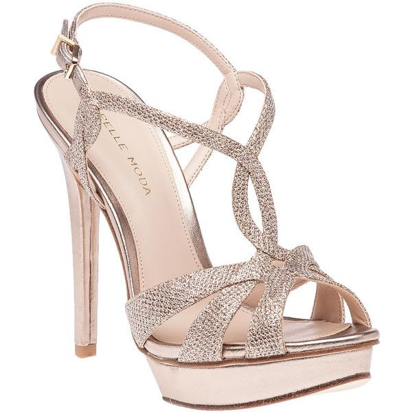 PELLE MODA Farrell Platinum Gold Evening Sandal ($180) ❤ liked on Polyvore featuring shoes, sandals, gold leather, evening sandals, ankle strap platform sandals, gold glitter sandals, gold high heel sandals and gold metallic sandals