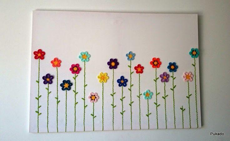 Pukado By Patricia Stuart: Crochainting - Crochet and a Canvas - Tutorial by Pukado