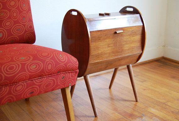 Vintage Sewing Box Cabinet Mid Century Modern
