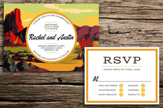 Celebrate your western wedding with this unique invitation suite featuring a colorful paint-by-number inspired illustration of a desert landscape.