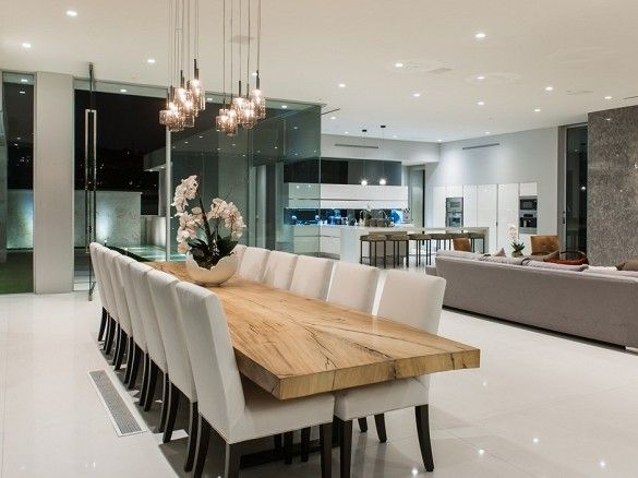 The Winklevoss Twins List Their L.A. Mansion For $110,000/Month. Neutral Dining  RoomsDining Room ModernWood Dining TablesDining ...