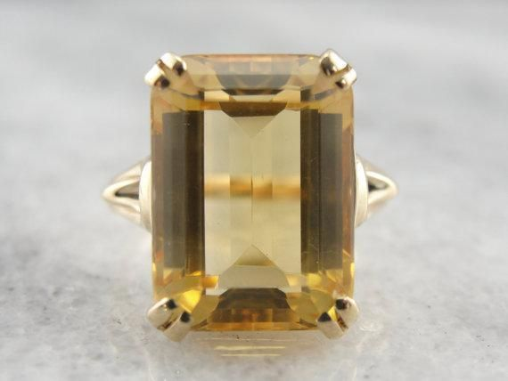 Split Prong Yellow Gold Citrine Cocktail Ring