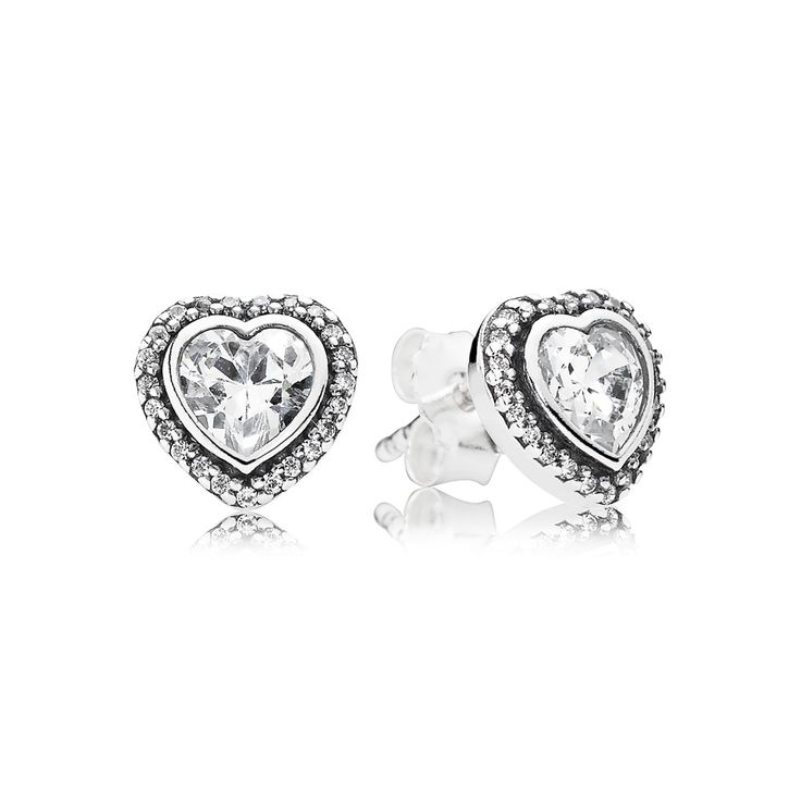 These beautiful stud earrings in a classic heart design will bring sparkle to any occasion. #PANDORA #PANDORAearrings