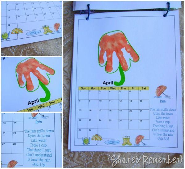 Calendar Ideas For Grandparents : Handprint calendar and ideas for each month