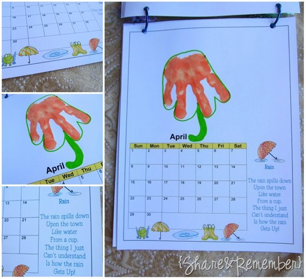 Monthly Calendar Rhyme : Handprint calendar and ideas for each month