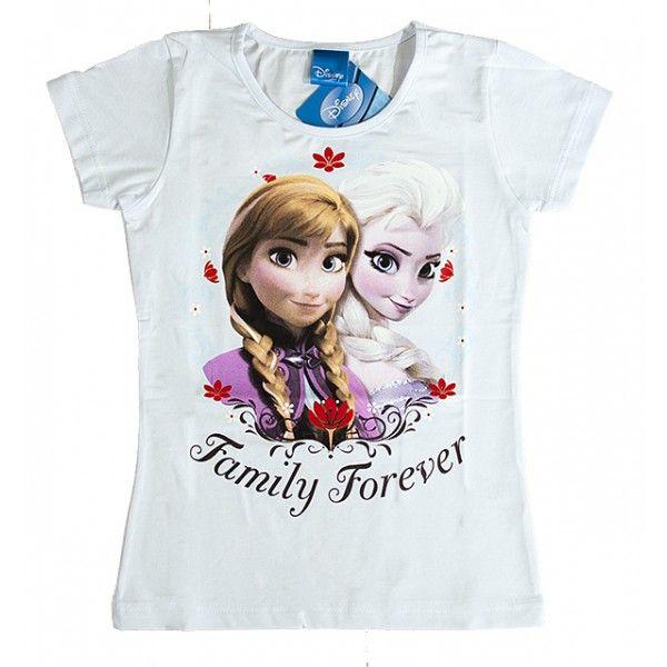 Frost t-shirt hvid til piger med Anna og Elsa kendt fra Disney filmen Frost Frozen