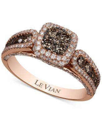 Le Vian Chocolatier® Chocolate and White Diamond (1-3/8 ct. t.w.) Ring in 14k Rose Gold