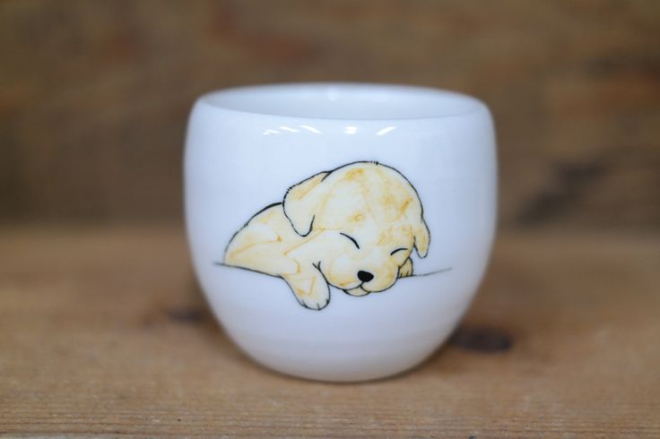 Hand painted animal cup - Cute cup -dog cup- unique cup - dog small cup - Sleeping dog by CreativeStoneCera on Etsy