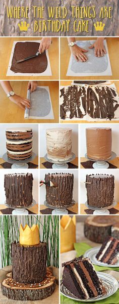 Where the Wild Things Are Birthday Cake | From SugarHero.com  This technique would be awesome for a buche de noel