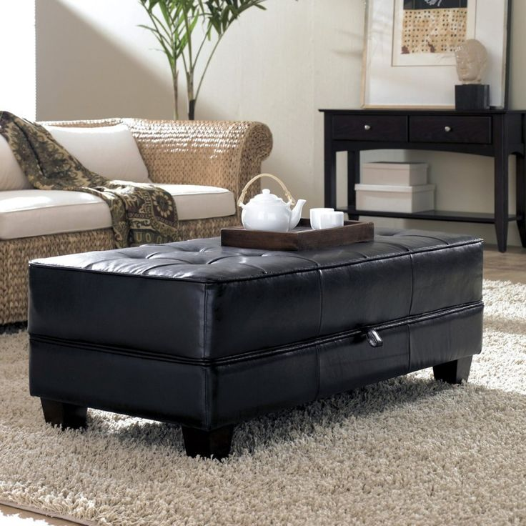 Riverside Saxon Faux Leather Large Cocktail Storage Ottoman Coffee Table When Clutter Gets Underfoot It Can Be Annoying Unless It S Underfoot In The