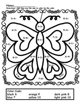 Spring Math Worksheets Addition Color By Number