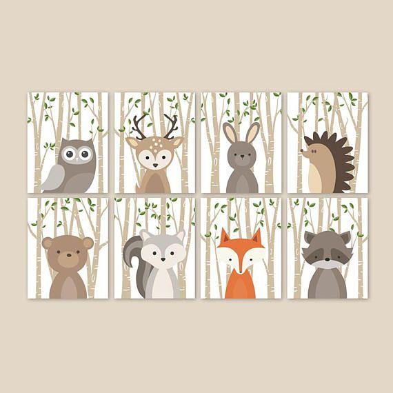 Baby Deer Nursery Decor, Forest Animal Prints for …