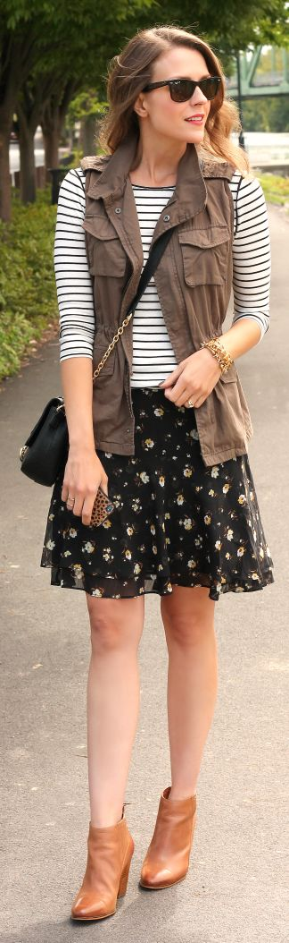 Bring summer into fall with a this Old Navy dark floral Chiffon skirt. It's perfect for mixing prints and adding on layers. | Source: http://www.pennypincherfashion.com/2014/09/fall-in-love.html
