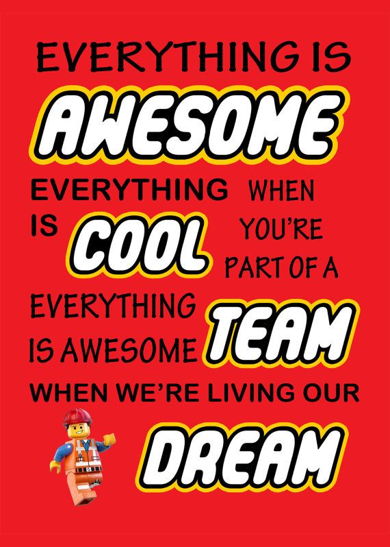 """The Lego Movie' Everything Is Awesome' Emmet Print 5x7"""" Instant Digital Download on Etsy, $1.92"""