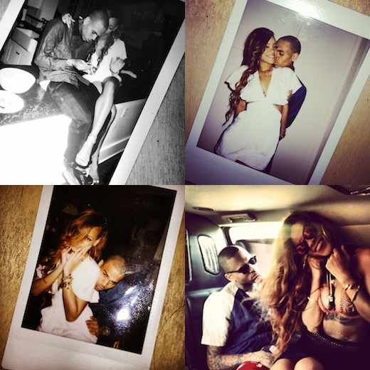 Rihanna posted a number of photos to Instagram that show her and Chris Brown getting hot and heavy on her 25th birthday.
