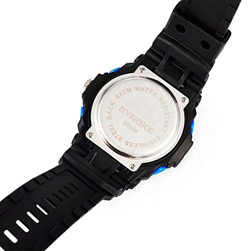 Water-resistant Unisex Digital Watch - Dual LED Display Watch / Night Vision Watch / Sports Wrist Watchs 26.45  #50MWaterproofallowsyourdon'thavetoremoveitwhilewashinghands,swimmingorevebdiving. #Blue #Casediameter:51.6mm,Casethickness:About17mm,Bandwidth:About22mm,Bandthickness:2.5mm,Totallength:27cm; #Functions:LEDDisplay/Clock/Date/WeekDispaly/SwimmingWaterproof/Shockproof/Stopwatch;...