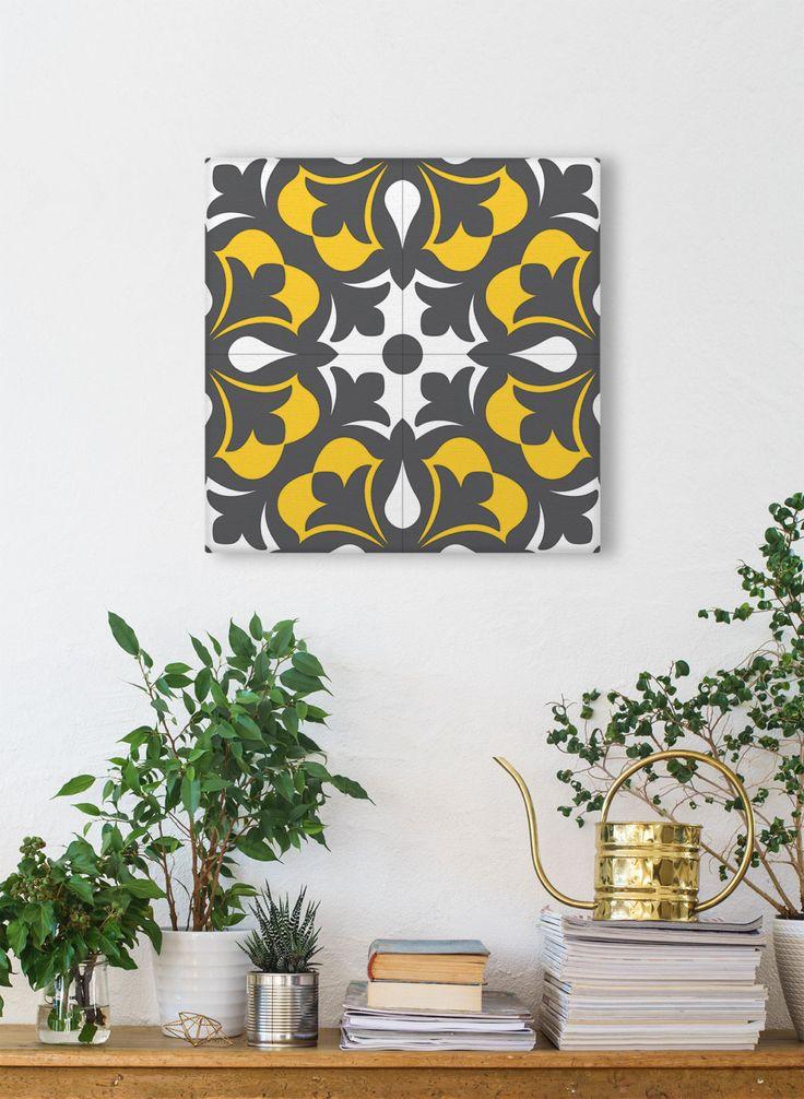 Ceramic Tile Design Printed On Canvas, Square Print, Geometric Wall Art, Vintage Wall Decor by Macrografiks on Etsy