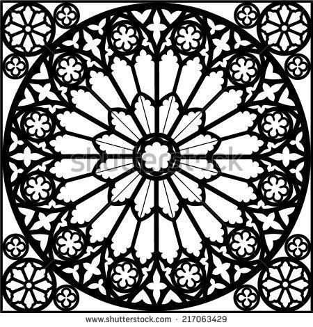 silhouette rose window/ gothic/ vector illustration