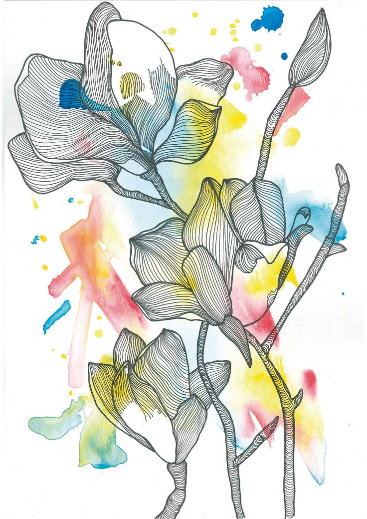 Flor / Flower N°2    Find me on #society6 #redbubble #lines #watercolor #acuarela #nature #graphic #design #art #flower